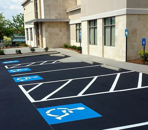 Handicap space line striping