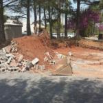 Cinder block wall demolition