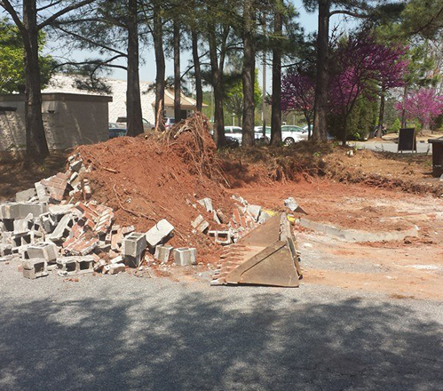 Cinder block wall demolition