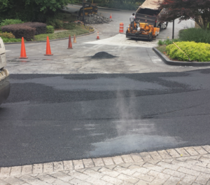 Hot asphalt paving