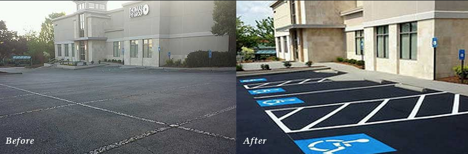 Parking lot sealcoating and striping before and after