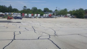parking lot cracked asphalt