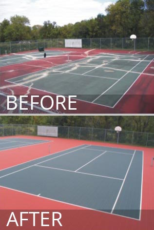 Sports Court Resurfacing Before and After